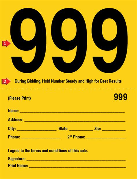 auction number cards template auction number cards