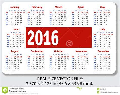 Cso Calendar Pocket Calendar For 2016 Stock Vector Image