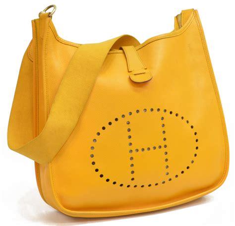 hermes saddle bag hermes evelyne yellow leather saddle bag august