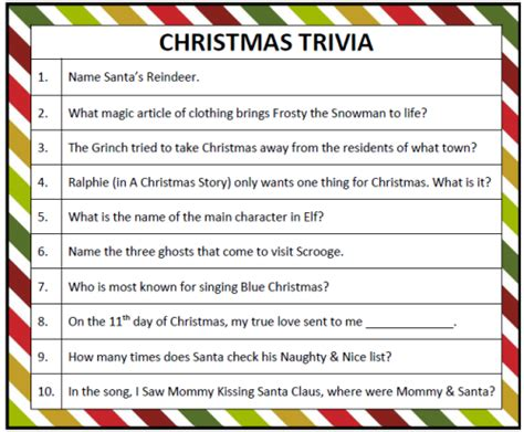 free printable christmas table games printable christmas trivia game moms munchkins