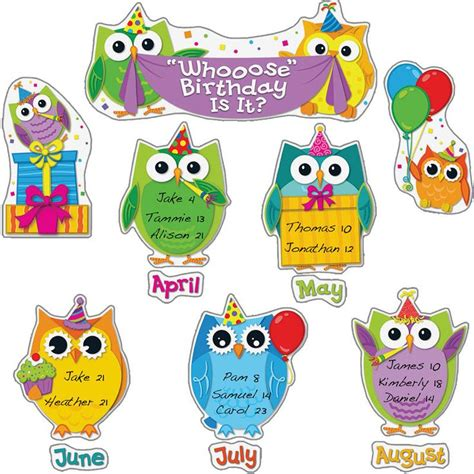 owl printables for classroom colorful owls birthday bulletin board set birthdays
