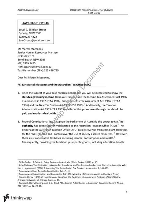 essay format uws objection letter of advice 200019 revenue law thinkswap
