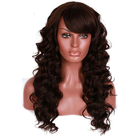 Wig Panjang l e mail per 252 cke mode frauen dame kunsthaar lange dunkelbraune lockige per 252 cke hair extensions
