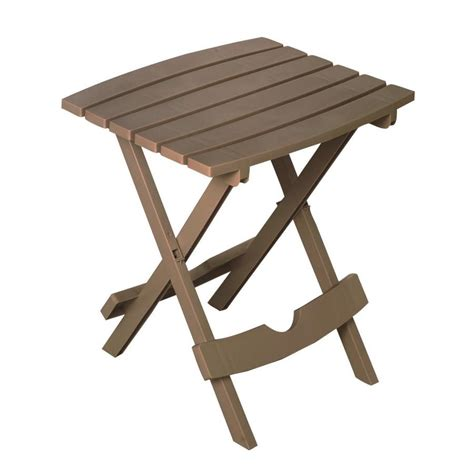 Folding Patio Side Table Shop Mfg Corp 15 125 In W X 17 375 In L Square Resin Folding End Table At Lowes