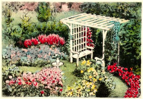 printable garden images antique images printable flower garden digital element