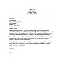Of A Cover Letter cover letter sle for administrative management and