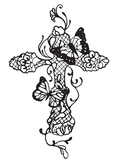 lace cross tattoo concept butterflies cross lace cross modern