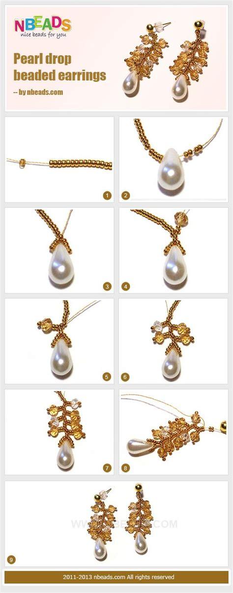 diy beaded earrings tutorial pearl drop beaded earrings free tutorial diy free