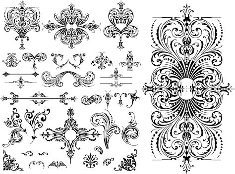 lace pattern logo ヨーロッパ調の飾り罫 variety of practical european style lace