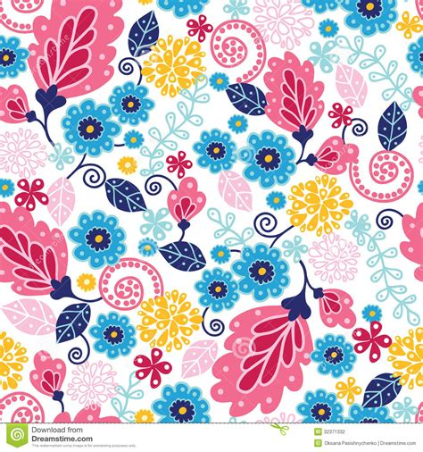 flowers seamless pattern element vector background fairytale flowers seamless pattern background stock