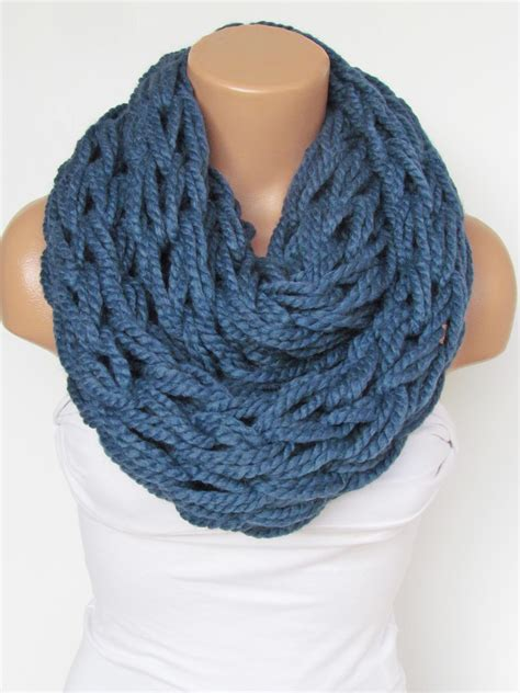 infinity navy blue scarf neckwarmer knitted scarf circle