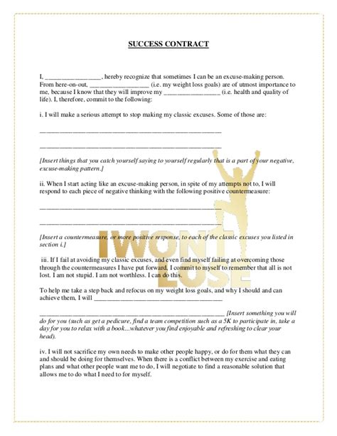 Commitment Letter To Lose Weight Success Contract