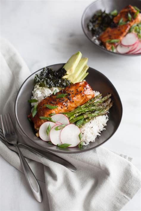 soy glazed salmon rice bowl bourbon  honey