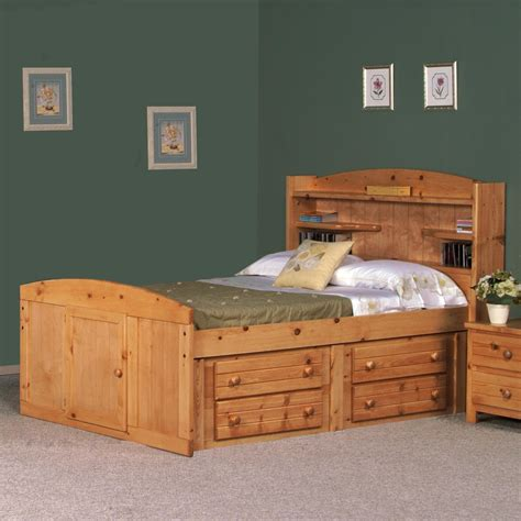 full bed with drawers on one side full palomino bed w four drawer storage by trendwood
