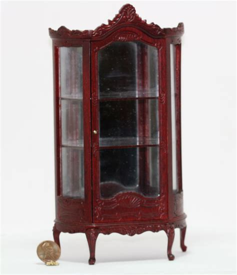 glass doll house dollhouse miniature louis xv roccoco mahogany hand carved glass china cabinet ebay