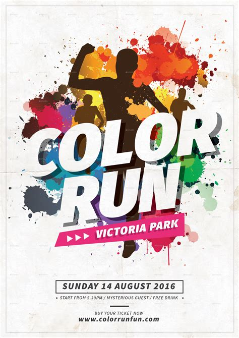 Color Run Flyer Template Color Run Fest By Tokosatsu Graphicriver