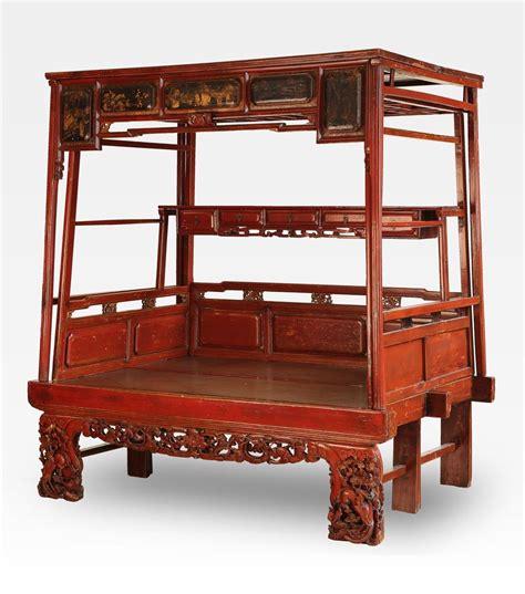 letti cinesi letto cinese a baldacchino rosso intagliato legno di