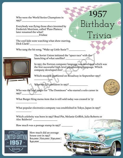 birthday themes quiz 1957 year birthday trivia game 60th birthday instant