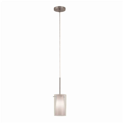 Lowes Kitchen Pendant Lights Shop Portfolio 5 In W Brushed Nickel Mini Pendant Light With White Shade At Lowes