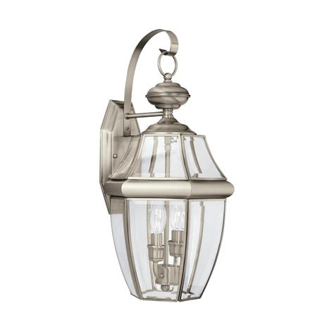 Brushed Nickel Outdoor Light Sea Gull Lighting Jamestowne Collection 1 Light Outdoor Antique Brushed Nickel Lantern 8456 965