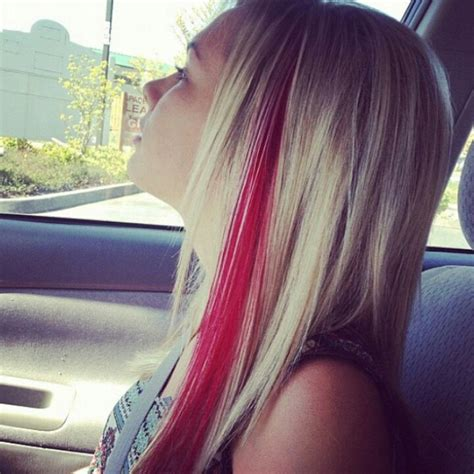 what red highlights look like in blonde streaked hair instead of a red streak i will do blonde in my dark brown
