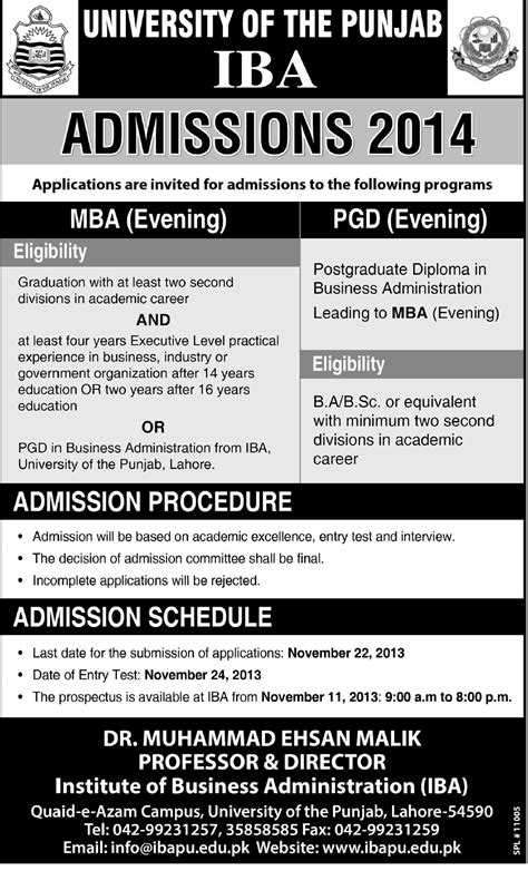 Mba Merit List 2015 In Punjab Lahore by Iba Punjab Lahore Admission 2015 Mba Evening