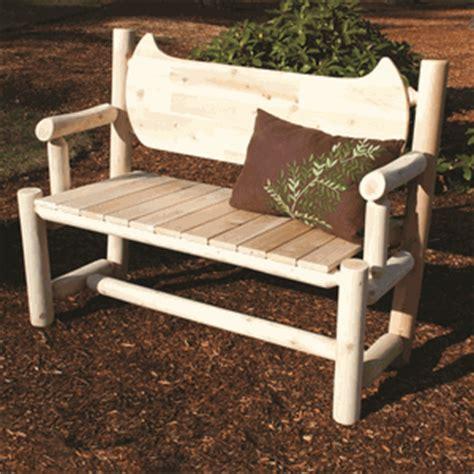 rustic cedar log style wood garden bench reviews wayfair 4 log style cedar bench with canoe shape back