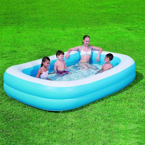 rectangular family paddling pool deluxe blue rectangular family outdoor garden