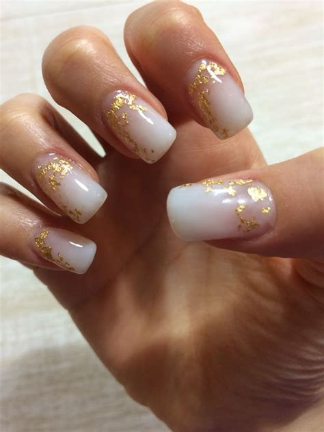 Gel Nail by White Gel Nails With Gold Foil My Nails