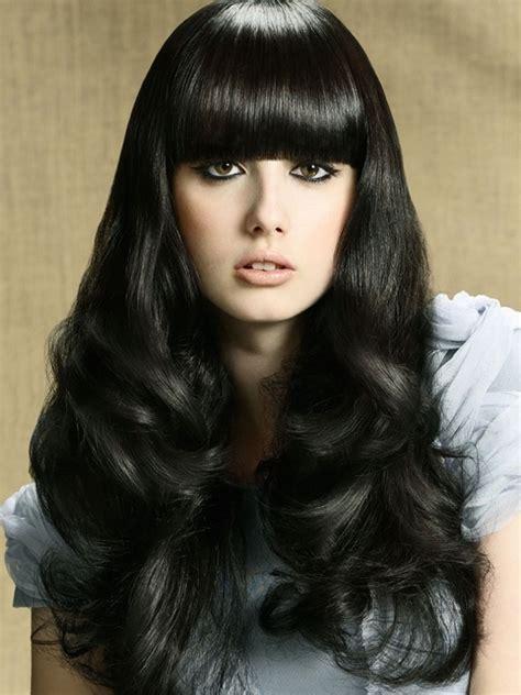 bangs hair glam blunt bangs long haircuts 2012