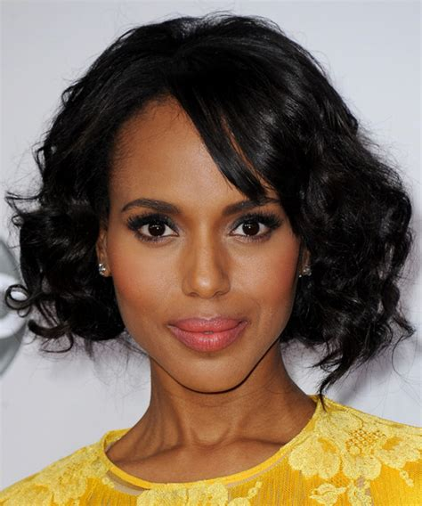 natural hairstyles for high forhead black hair kerry washington medium curly casual bob hairstyle with