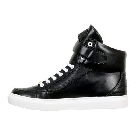 S W A T Black Leather Black White buy black casual shoes for by versace uk at togged