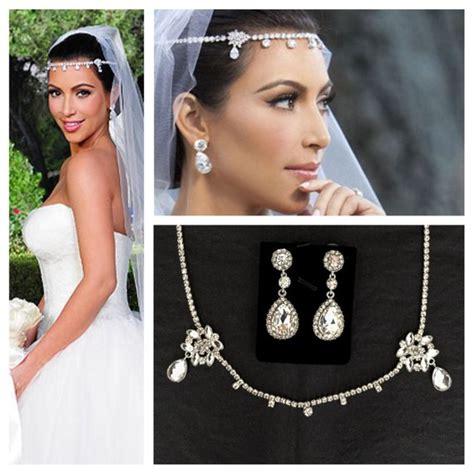 kim kardashian chanel earrings kim kardashian wedding headpiece earrings set tiara headband