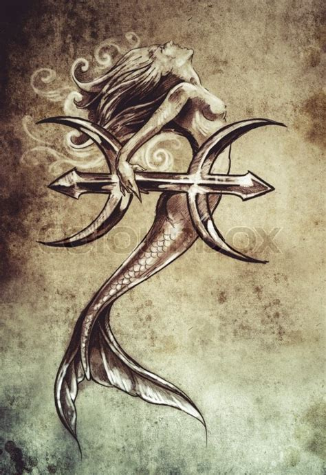 mermaid pisces tattoo tribal pisces mermaid www pixshark images