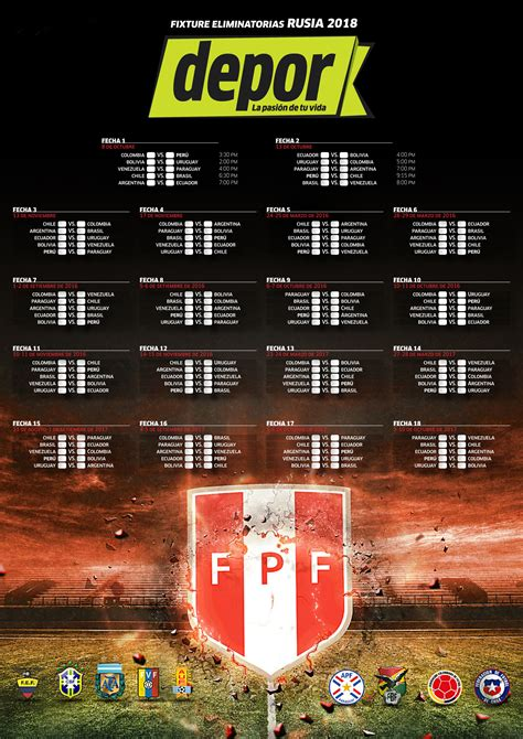 Calendario Eliminatorias Rusia 2018 Excel Selecci 243 N Peruana El Fixture Actualizado De Las