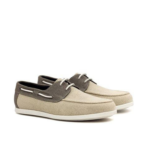 boat shoes london manor of london ice grey linen boat shoe