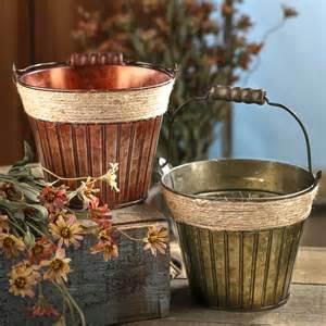 Tin Home Decor Rustic Verde Green Patina Tin Baskets Buckets Boxes Home Decor