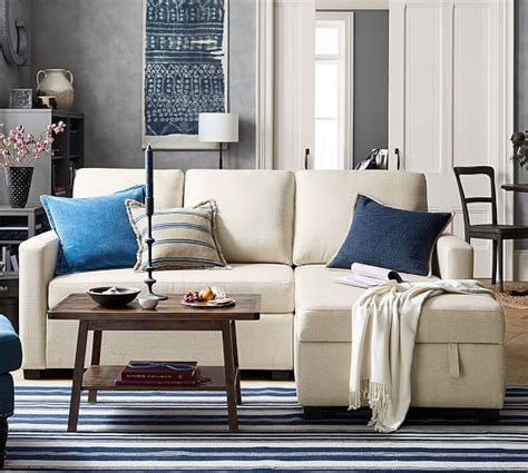 Sectional Sofa With Storage Chaise Soma Bryant Upholstered Sofa With Storage Chaise Sectional Pottery Barn