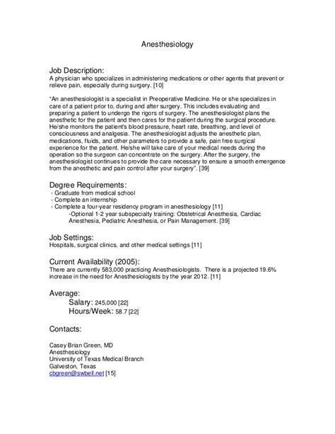 Description For Anesthesiologist by Anesthesiologist Description Career As An Pdf