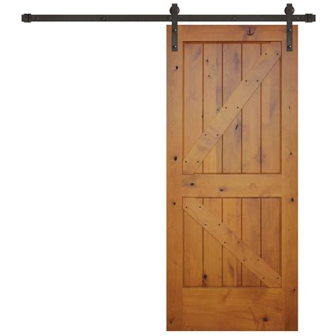 Pacific Entries 36 In X 84 In Rustic Prefinished 2 Panel Barn Door Kits