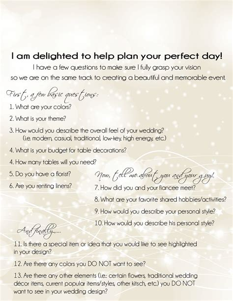 wedding planner questionnaire   wedding planner