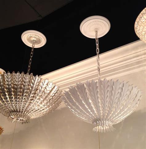 visual comfort aerin lauder hton pendants in burnished silver leaf and plaster