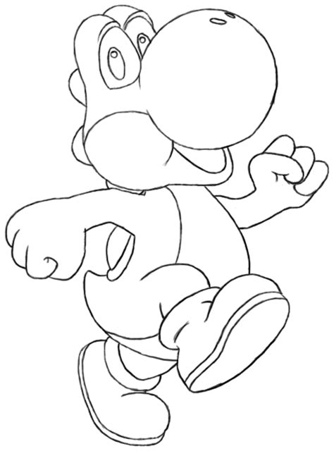Drawing Yoshi by Blue Yoshi From Mario World Free Coloring Pages
