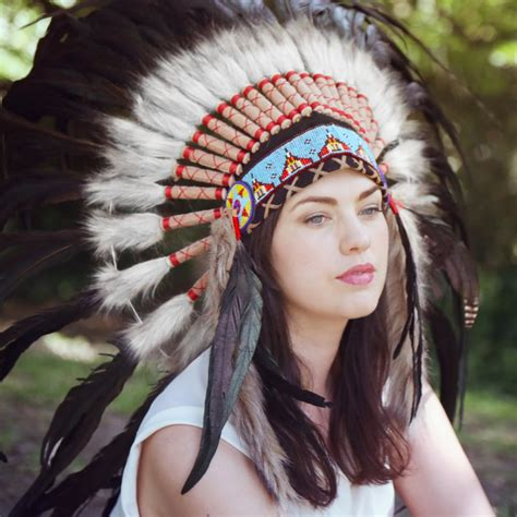 Native American Indian War Headdress   Blue Ornament Black Feather White Fur