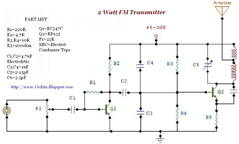 2 transistor fm transmitter circuit 2 watt fm transmitter everyday electronics