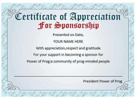 certificate of appreciation for sponsorship template 12 certificates of appreciation for sponsorship