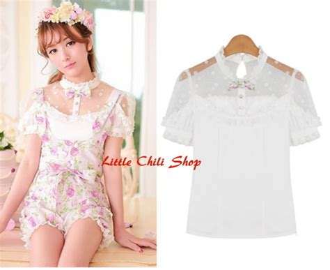 Pastel Blouse White Adelle kawaii blouses in sweet pastel colors bonbonbunny