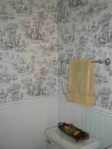 Bead Room Dividers - vintage style powder room beadboard and toile wallpaper traditional bathroom portland