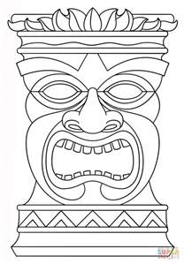 hawaiian tiki mask coloring pages download print free
