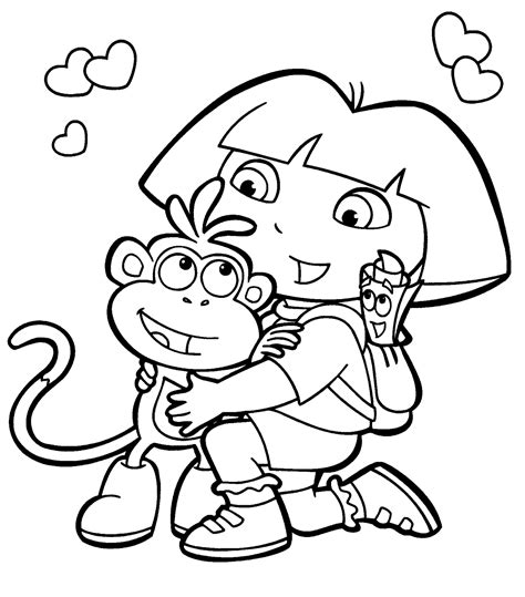 simple dora coloring pages dora coloring pages